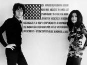 John Lennon and Yoko Ono standing in front of Maciunas' USA Surpasses all the Genocide Records!, c.1970.
