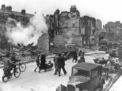English: Injuries brought about during the bombing of London. Español: Daños ocasionados durante el bombardeo a Londres.