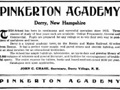 Advertisement for Pinkerton Academy, a boarding school in Derry, New Hampshire