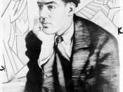 English: Langston Hughes, half-length portrait, seated, facing right, with right hand under chin.