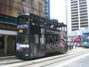 Tram with Revlon advertising in Hong Kong, June 2007