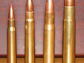 English: Image comparing 404 Jeffrey to other cartridges Cartridges in this image from left to right: .30-06 Springfield .375 H&H .404 Jeffrey .505 Gibbs