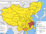 Extent of the Taiping Rebellion (French). 中文: 紅色為太平天國的勢力範圍 (法文)