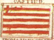 English: British East India Company flag drawing from the notebook of William Downman