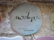 Italiano: Piastrella del Muretto di Alassio autografata da Sandra Mondaini