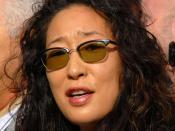 Sandra Oh at a Writer's Guild of America protest