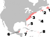 English: British colonies in North America, c. 1750 1: Newfoundland; 2: Nova Scotia; 3: The Thirteen Colonies; 4: Bermuda; 5: Bahamas; 6: British Honduras; 7: Jamaica; 8: British Leeward Islands and Barbados