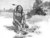 English: Squanto or Tisquantum teaching the Plymouth colonists to plant corn with fish.
