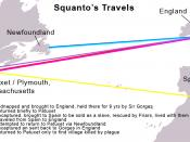 A map depicting the travels of Tisquantum, a.k.a. Squanto, the Native American who assisted the early British settlers in Massachusetts.