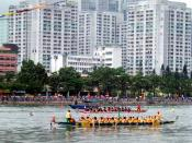English: Dragon boat racing in China. (Shing Mun River, Sha Tin, Hong Kong, China) Photo by Mr. Wabu I was here heheh http://www.flickr.com/photos/oxborrow/160760414/