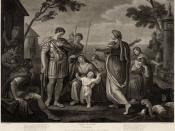 Act V, Scene III of Shakespeare's Coriolanus. Engraved by James Caldwell from a painting by Gavin Hamilton.