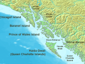 Map of the coast of the Pacific Northwest --- Islands and major straits of the northern American pacific coast showing Prince of Wales Island (Alaska), Queen Charlotte Sound (Canada), Dixon Entrance, Hecate Strait, Baranof Island, Chichagof Island, Juneau