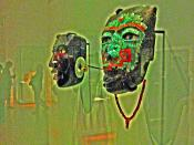 diorite mask in profile left beside to serpentin Malinaltepec mask (both were produced in Teotihuacán)