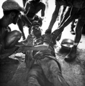 English: A wounded Vietminh prisoner is given first aid by Franco Vietnamese medicals after hot fire fight near Hung Yen, south of Hanoi. Ca. 1954 (USIA)