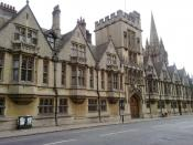 English: Brasenose College as it fronts onto the High Street, with St Mary's in the background.