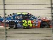 Jeff Gordon coming out of Turn 2 at the Texas Motor Speedway, November 6, 2005 during the Dickies 500.
