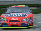 NASCAR driver Jeff Gordon pulls into the pits at Texas in 2007