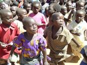 From http://www.usaid.gov/locations/sub-saharan_africa/countries/uganda/visits/day3a.html. Picture of children displaced by the insurgency of the Lord's Resistance army of northern Uganda into Labuje camp near Kitgum Town. Original caption: