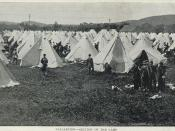 English: Postcard of the Valcartier military base. Due to the site's proximity to the Quebec City harbour, Valcartier was hastily set up as a military camp upon the commencement of the First World War, ultimately becoming the largest military base on Cana