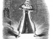 Scrooge extinguishes the Ghost of Christmas Past. Original 1843 illustration by John Leech