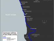 English: Map of commuter rail lines in San Diego County, California. Includes NCTD COASTER, NCTD SPRINTER, Metrolink Orange County Line and Metrolink Inland Empire-Orange County Line.