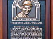 English: Ted Williams in the Boston Red Sox Hall of Fame at Fenway Park, Boston Français : Plaque de Ted Williams au temple de la renommée des Red Sox de Boston au Fenway Park, Boston