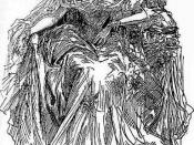English: Miss Havisham, in art by Harry Furniss from the library edition of Charles Dickens's Great Expectations.