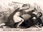A political cartoon depicting Preston Brooks's attack on Charles Sumner, an example of legislative violence.