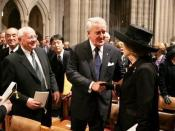 Former British Prime Minister Margaret Thatcher (right) is greeted by former Canadian Prime Minister Brian Mulroney, Former Soviet President Mikhail Gorbachev and former Japanese Prime Minister Yasuhiro Nakasone before the funeral service for former Presi