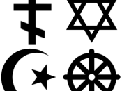 English: Religious symbols; from left to right: 1st Row: Christian Cross, Jewish Star of David, 2nd Row: Islamic Star and crescent, Buddhist Wheel of Dharma