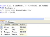 Example SQL outer join query with Null placeholders in the result set. The Null markers are represented by the word NULL in place of data in the results. Results are from Microsoft SQL Server, as shown in SQL Server Management Studio.