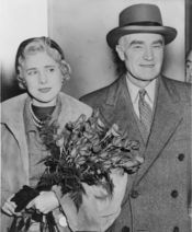Clare Boothe Luce, U.S. ambassador to Italy, and husband, publisher Henry Luce, arriving at Idelwild Airport, New York, New York / World Telegram & Sun photo by Phil Stanziola.