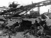 Soviet soldiers crawling in the rubbles of Stalingrad.