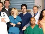 Scrubs s original cast, seasons 1–8. From left to right: John C. McGinley, Neil Flynn, Sarah Chalke, Zach Braff, Donald Faison, Ken Jenkins and Judy Reyes.
