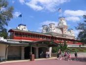 Walter E.Disney's red coaches waiting at Main Street USA station.
