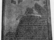 The Mesha stele as photographed circa 1891. The stele describes King Mesha's wars against the Israelites.