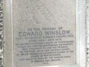 English: The Winslow boy! One of the inscribed tablets, commemorating individual Pilgrim Fathers, that adorn the Mayflower tower.