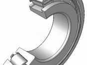 Kegelrollenlager, mit Blechkaefig aus Stahl, zerlegbar, 120°Schnitt, Hinweis: Innenaufbau des Lagers (insbesondere des Kaefigs) variiert je nach Hersteller und Baugroesse rolling contact bearings