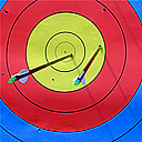 Archery icon for user boxes or clip art. Two arrows in an archery target.