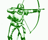 green version of line art drawing of an archer or bowman