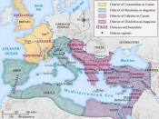 English: historic map of Roman Empire during the first tetrarchy
