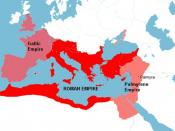 The Roman Empire around the year 271 AD, with the break away Gallic Empire in the West and the break away Palmyrene Empire in the East.