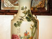 Old Chinese Vase with Flowers