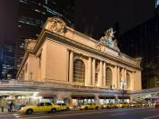 English: Grand Central terminal in New York, NY Français : Vue extérieure nocturne de la gare Grand Central Terminal sur l'ile de Manhattan, à New-York (États Unis d'Amérique).