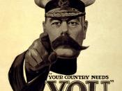 English: An icon of total war, Lord Kitchener calls upon British citizens to enlist for the First World War.