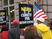 Union members picketing outside the National Labor Relations Board offices in Washington, D.C., in November 2007