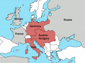 English: A simple map showing the Triple Alliance of Germany, Austria and Italy in 1913. The alliance members are puce, other great powers are grey.