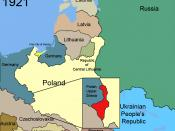 Upper Silesian industrial district (red) to Poland after the Upper Silesia plebiscite in 1921