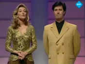 Gerry Ryan (right) co-presented Eurovision Song Contest 1994 alongside Cynthia Ní Mhurchú, one of the highlights of his television career.