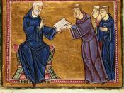 Benedict of Nursia delivers his rule to the Benedictines